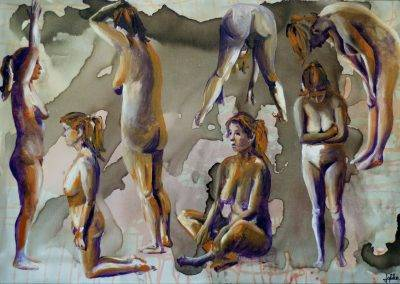 Model painting by Jofke in various poses, in orange, purple and grey colours.