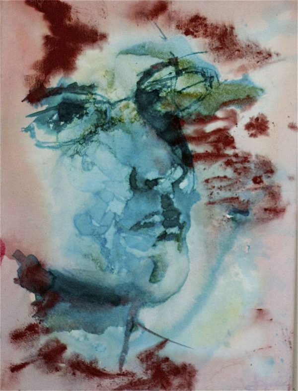 Experimental portrait painting of Jofke in ink and pigment powder, 30 x 40 cm
