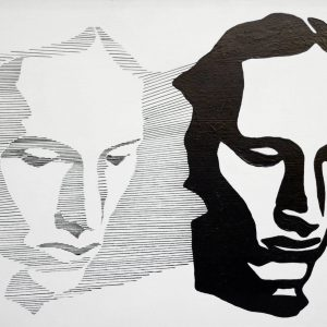 Black and white duoportrait painting in silhouette, by Jofke, 50 x 70 cm