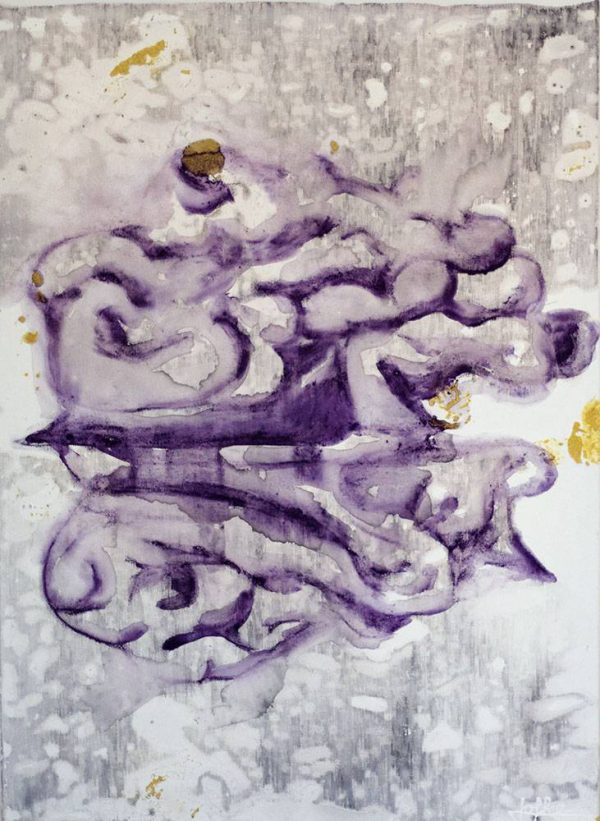 Painting in grey and purple colours, inspired by The walnut