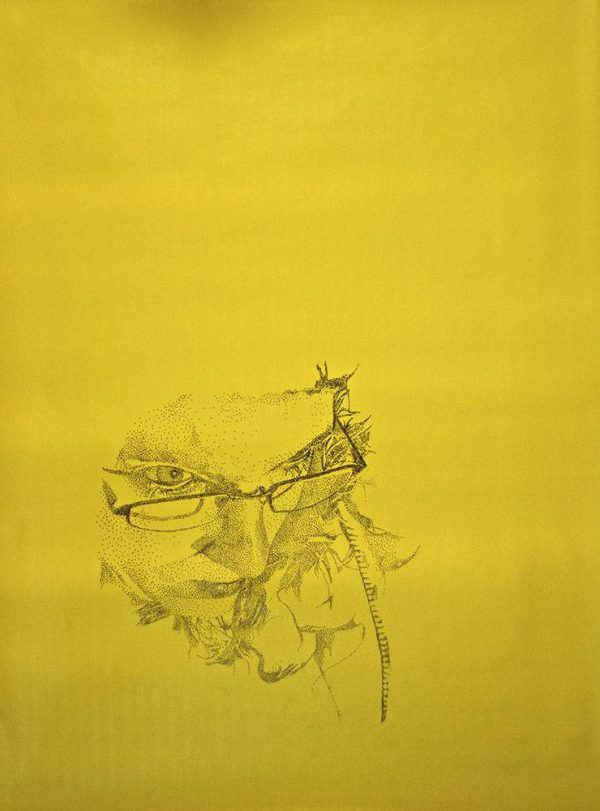 Portrait on yellow background, made up of black dots, by Jofke