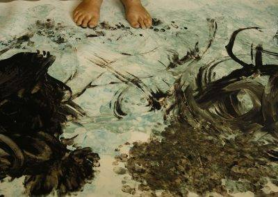Image of painting with feet, by Jofke and other artists