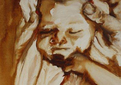 Baby portrait painted in brown tones and white oil paint, by Jofke