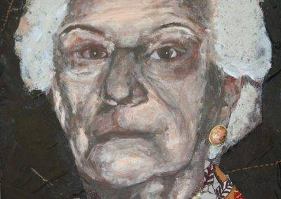 Oma in acryl en mixed media, door Jofke