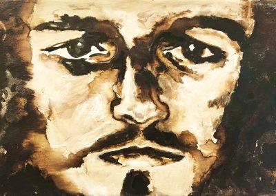 Portret Jezus in olieverf, 30 x 20 cm