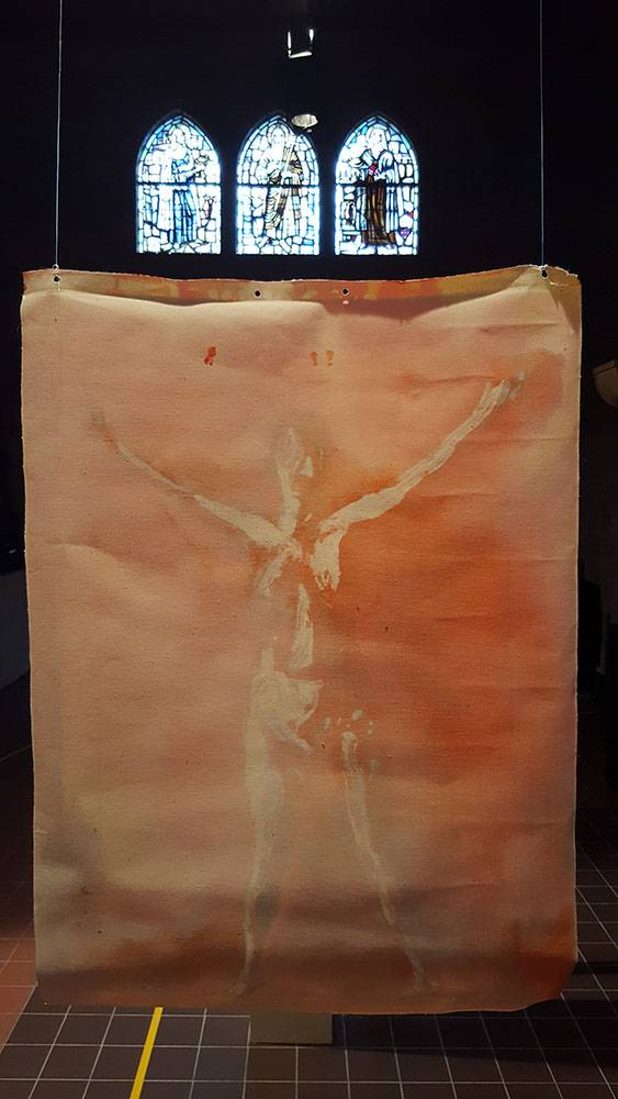 Back double sided oil painting without frame called Vitruviusvrouw, by Jofke