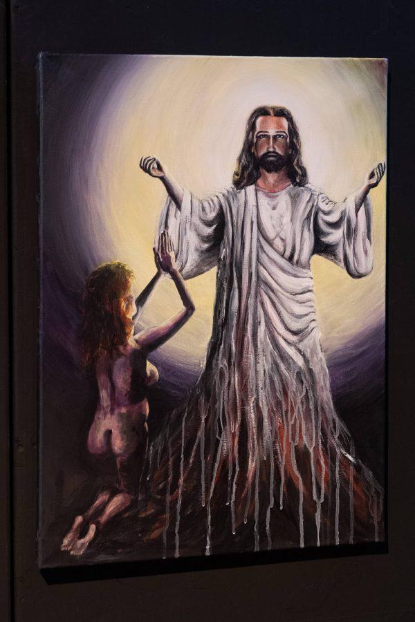 Oil painting Jesus with kneeling naked woman, by Jofke