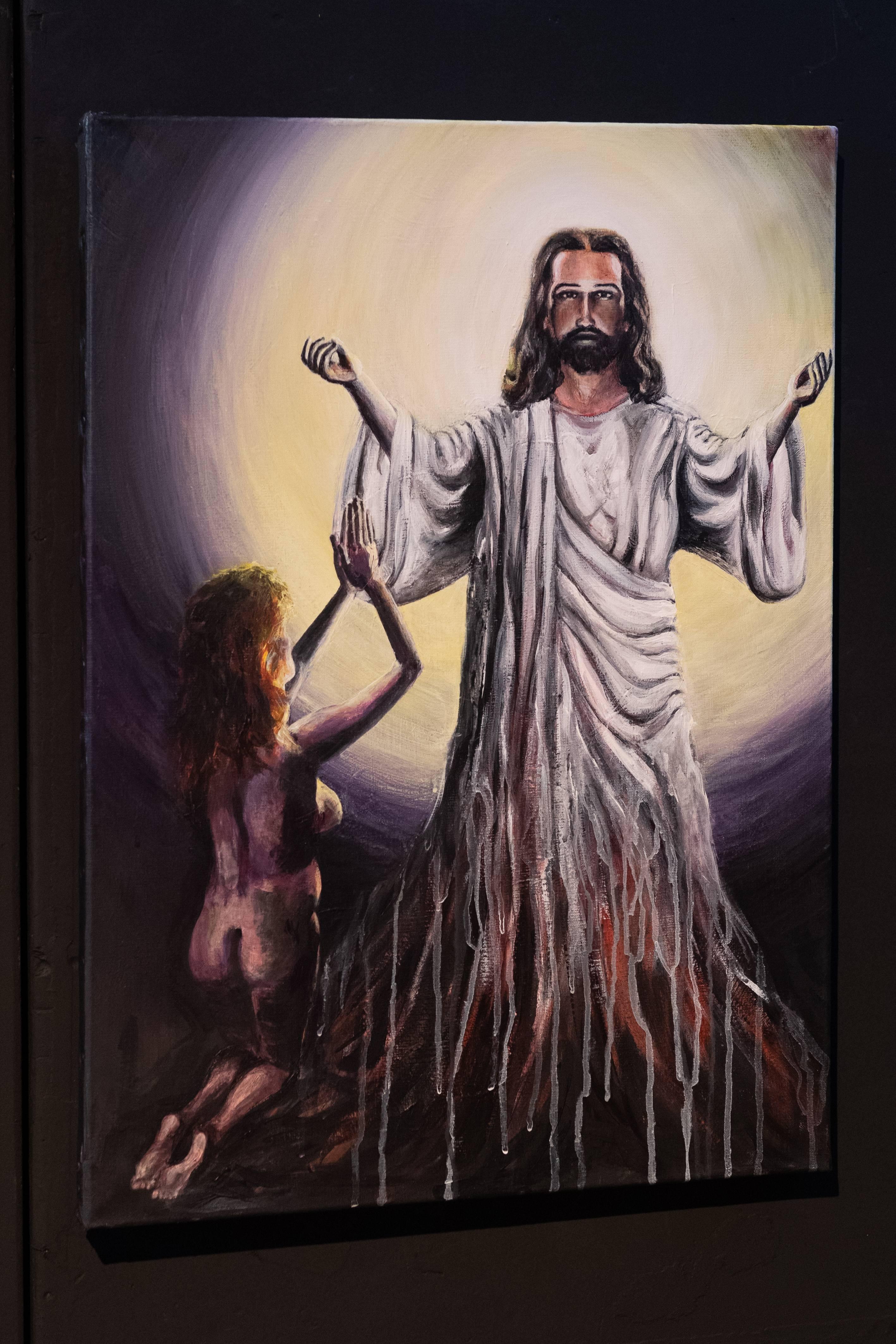 Werk 20. Jezus met knielende vrouw – Acryl op linnen (2019)