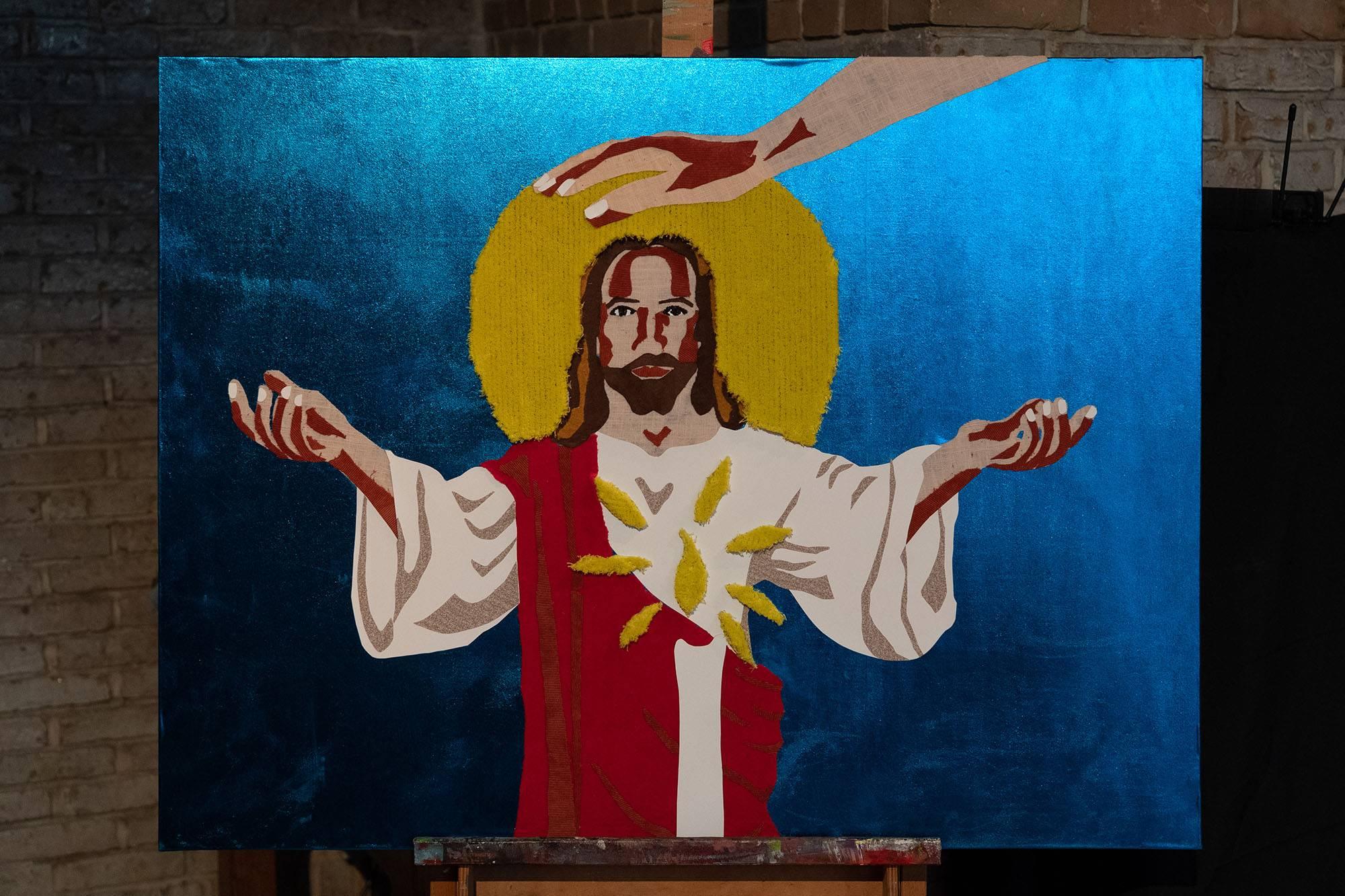 Werk 22. Taktila™ Jezus - Mixed media op houten paneel (2019)