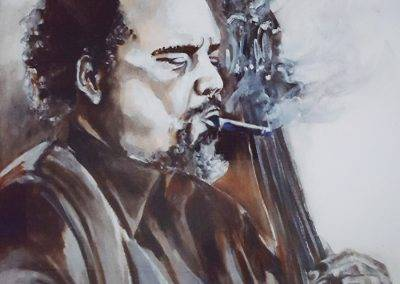 Oil portrait of Jazzbassist Charles Mingus, by Jofke