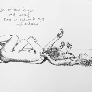 Pendrawing of 3 naked intimate dancing people, by Jofke