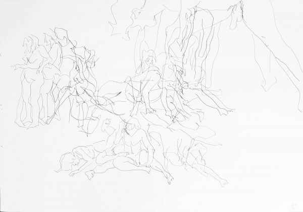 Drawing of 100 x 70 cm of moving people in space, by Jofke