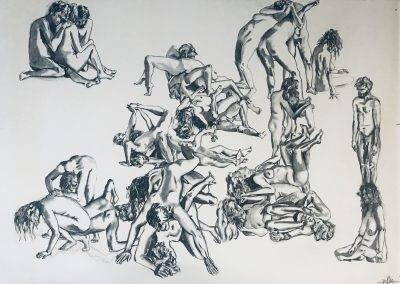 Charcoal drawing of naked people in contact, 200 x 150 cm