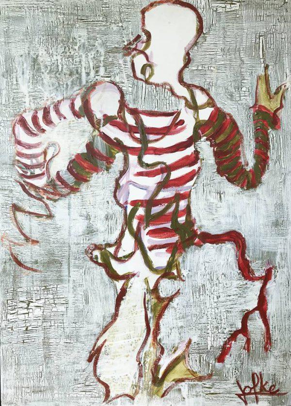 Acrylic painting dance in craqueler