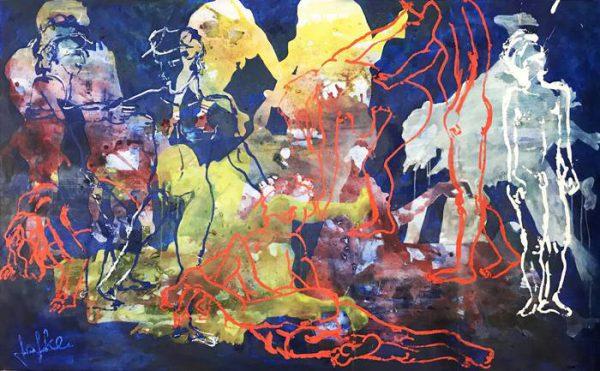 Frozen dance in oil paint, 160 x 100 cm