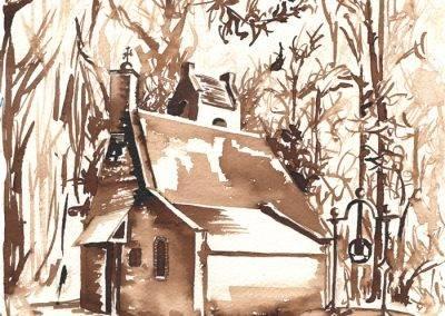 Illustratie Mariakapel oorlog en bevrijding in Udenhout, Schoorstraat door Jofke