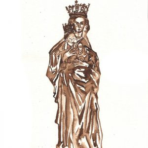 Illustration Mari statue chapel Our dear lady in distress by Jofke