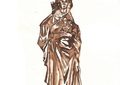 Illustratie Mariabeeld kapel Onze lieve vrouw ter nood door Jofke
