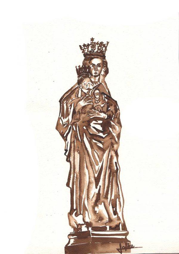 Illustration Mari statue chapel Our dear lady in distress by Jofke