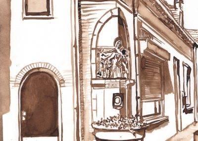 Illustratie Monument voor Coba Pulskens, hoek Diepenstraat - Jan Steenstraat door Jofke
