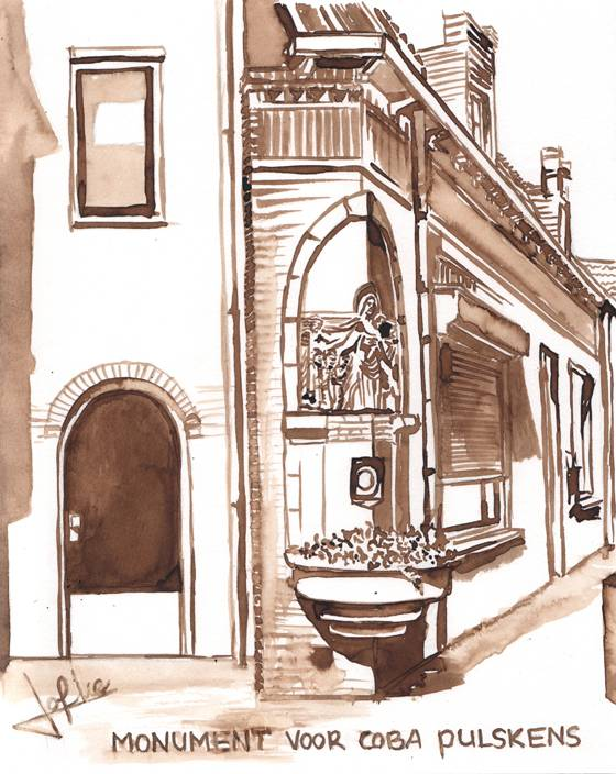 Illustration Monument for Coba Pulskens, corner Diepenstraat - Jan Steenstraat by Jofke
