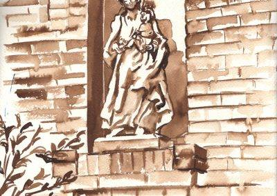 Illustration statue of Mary Cause of Our Happiness by Jofke