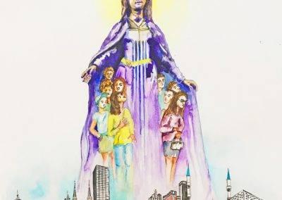 Illustratie voor bidprentje Maria bescherm Tilburg