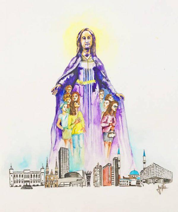 Illustration for prayer card Maria protect Tilburg