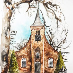 Watercolour Hasselt chapel