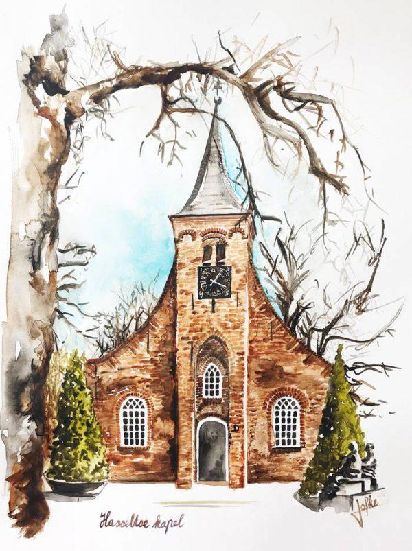 Watercolour Hasselt chapel
