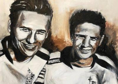 Duoportret twee broers in olieverf