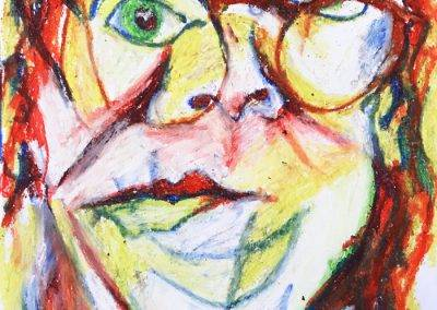 Self-portrait with oil pastel, 20 x 30 cm