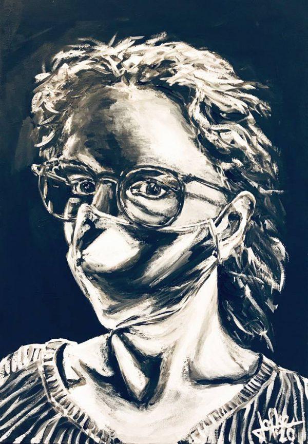 Self-portrait 2020, acrylic on canvas 50 x 70 cm