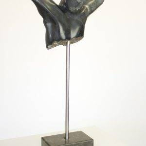 In ri, 30 x 12 x 60 cm, serpentine sculpture on pedestal
