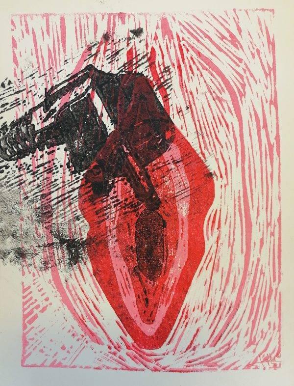 Yoni 11 Lino press on paper 30 cm x 39 cm