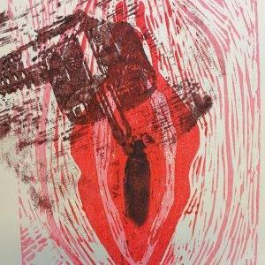 Yoni 2 Lino press on paper 30 cm x 39 cm