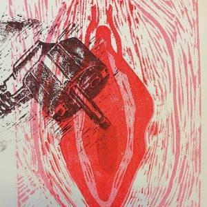 Yoni 7 Lino press on paper 30 cm x 39 cm