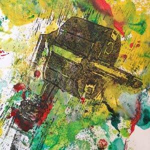 Contact 2 lino press on paper 21 cm x 29,7 cm