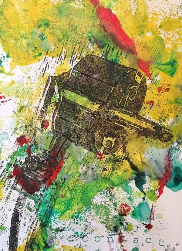 Contact 2 lino press on paper 21 cm x 29,7 cm