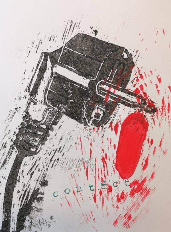 Contact 3 lino press on paper 21cm x 29,7 cm