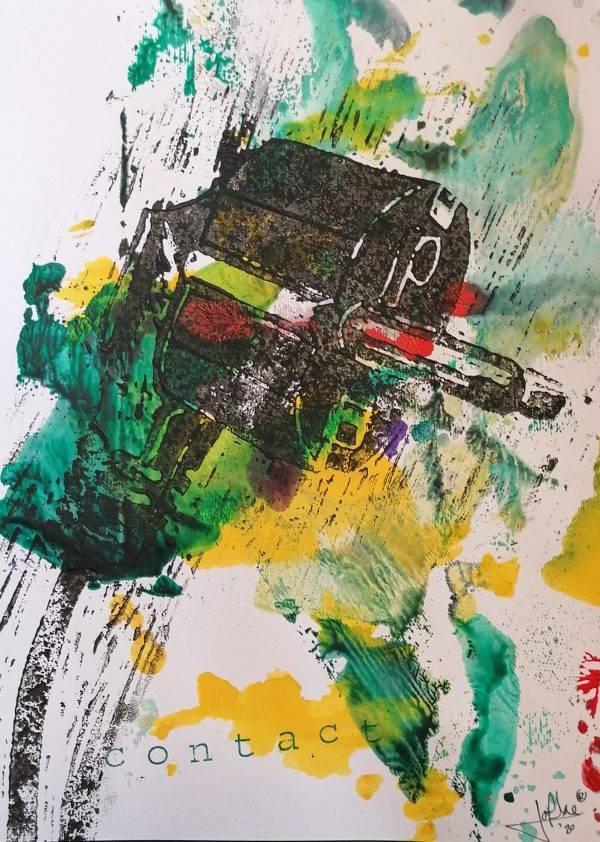 Contact 4 lino press on paper 21 cm x 29,7 cm