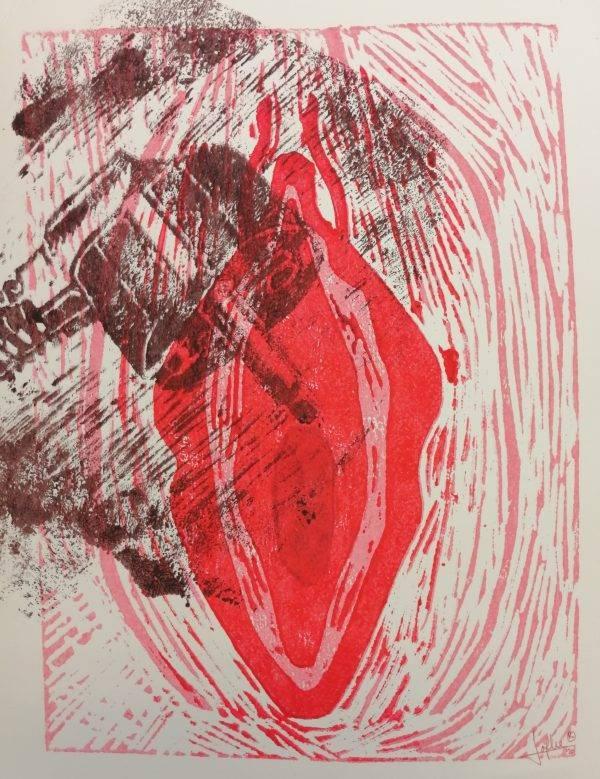 Yoni 1 Lino press on paper 30 cm x 39 cm