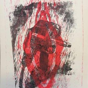 Yoni 10 Lino press on paper 30 cm x 39 cm