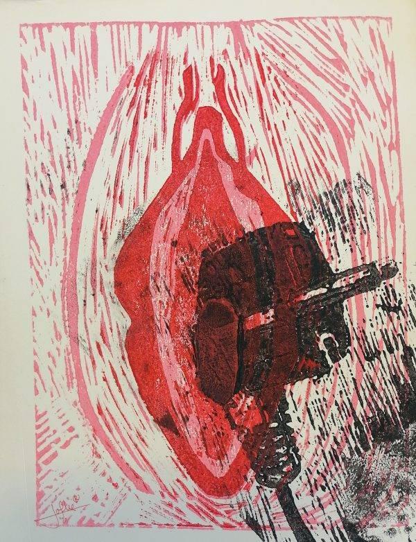 Yoni 14 Lino press on paper 30 cm x 39 cm
