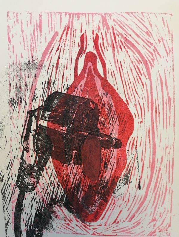 Yoni 15 Lino press on paper 30 cm x 39 cm