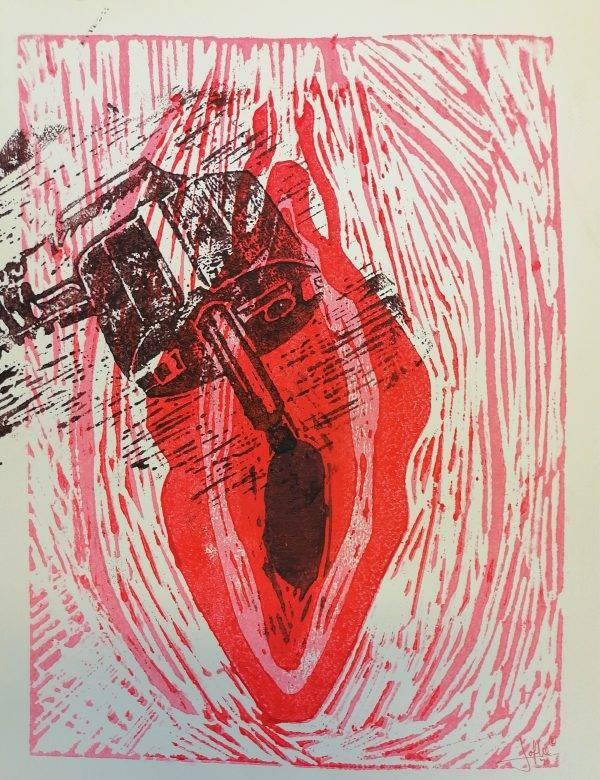 Yoni 3 Lino press on paper 30 cm x 39 cm