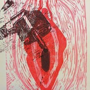 Yoni 6 Lino press on paper 30 cm x 39 cm