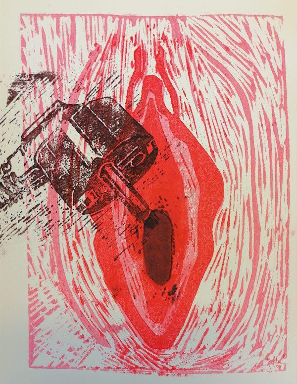 Yoni 9 Lino press on paper 30 cm x 39 cm