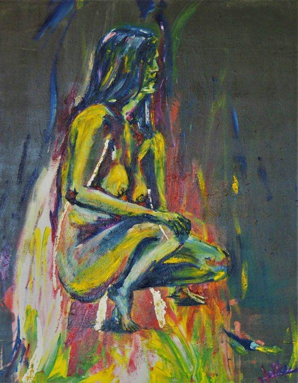 On fire; painting with acrylic, oil and gold leaf, 80 x 100 cm